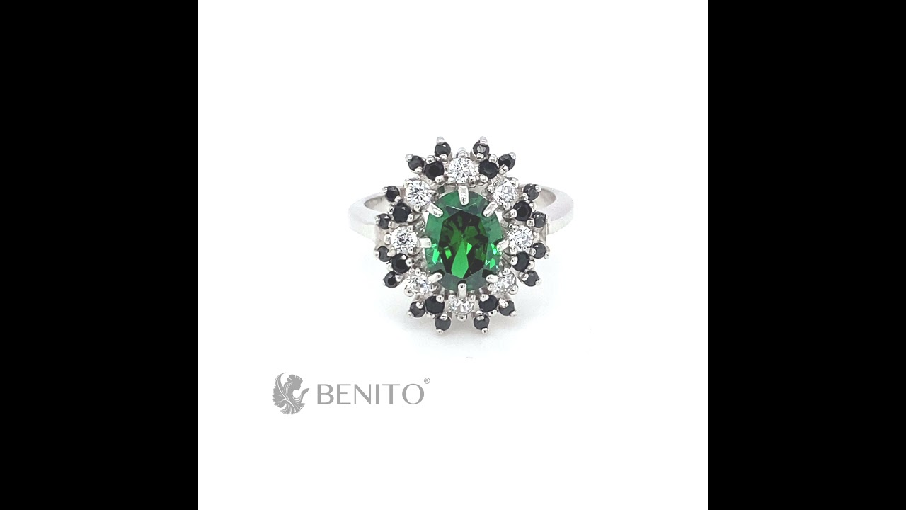 Alessandra Ring with Green, Black and White Zircon Stones