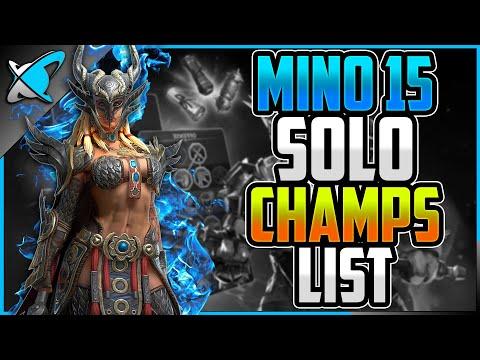 "Minotaur 15 ""SOLO CHAMPIONS"" List | Anyone Can Do It !! | RAID: Shadow Legends"