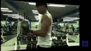 A-THUG DEMONSTRATES BICEP Workout Sequence 3 ON MEGASTAR DVD