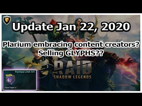 RAID Shadow Legends | Update Jan 22, 2020 | Plarium Embracing Content Creators? | Selling Glyphs?!