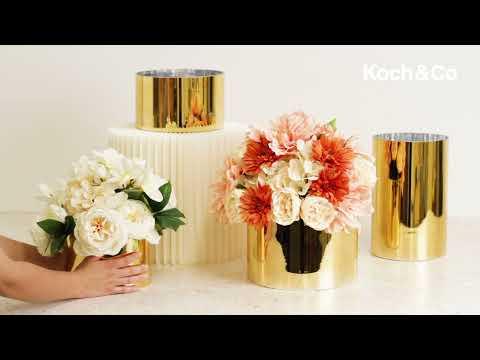 Glass Cylinder Glass Vase Gold (17Dx26.5cmH)