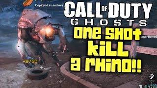 Kill a Rhino in 1 Bullet! Glitch? (Call of Duty: Ghosts Extinction Mode)