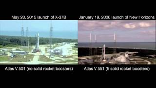 Rocket race! Comparison of 2015 Atlas V launch of X37B and 2006 Atlas V launch of New Horizons