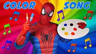 Spiderman Sings the COLOR SONG Superheroes in Real Life Learn Colors with Paint
