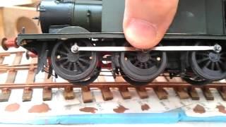 "Wireless O gauge model railway Terrier locomotive ""Lady Emily"" climbs Tregorran bank"