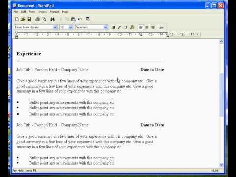 Wordpad Resume Templates Jobs Ecityworks