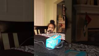 2 year old girl sings Twinkle twinkle little star on karaoke machine on Christmas eve Part 1