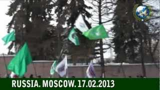 Pro-Qaddafi Pro-Jamahiriya Rally in Moscow on 2nd Anniversary of Ratvolution