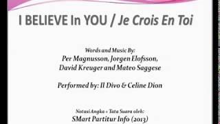 I BELIEVE In YOU / Je Crois En Toi  - Il Divo-Celine Dion| SATB – Teks Kor Lagu Pop Not Angka