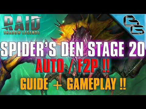 RAID: Shadow Legends | Spider's Den Stage 20 on Auto | Guide + Gameplay!! | F2P First !?!