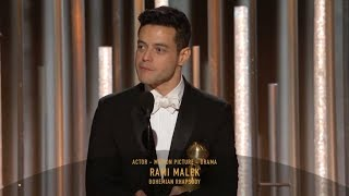 [HD] Rami Malek Wins Best Actor   2019 Golden Globes