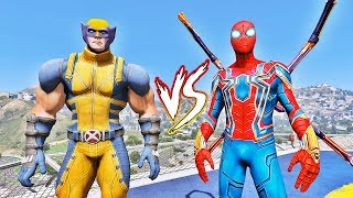HOMEM ARANHA DE FERRO vs WOLVERINE - GTA V Mods EPIC BATTLE - IR GAMES