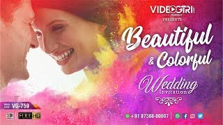 Beautiful and colourful wedding Invitation Video | VG-759