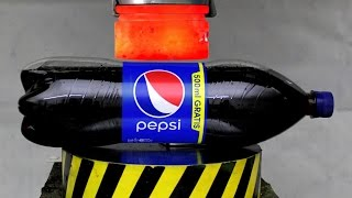 EXPERIMENT Glowing 1000 degree HYDRAULIC PRESS 100 TON vs PEPSI