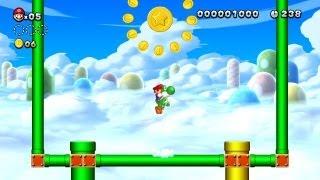 New Super Mario Bros. U - Nuvens de Algodão Doce-2 - Terceira Moeda-Estrela (Wii U)