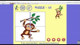 Interaktívna hra Puzzle - skladačka zvieratká: Korytnačka, Opica, Slon, Pes