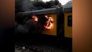 Train on fire rolls into Cape Town station