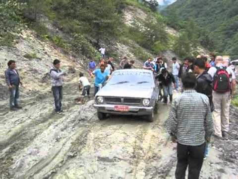 Soft roads after landslides in Nepal