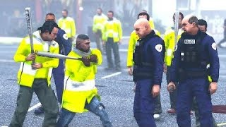 GTA : La manifestation des gilets jaune en france ! A la fin j'ai cassé la véhicule de police 👮♀️🤬