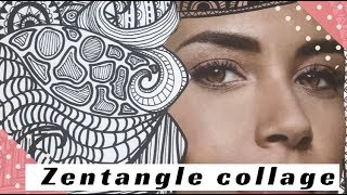 HOW TO ZENTANGLE AND  DOODLE ART IN A COLLAGE! ART FOR KIDS VIDEO