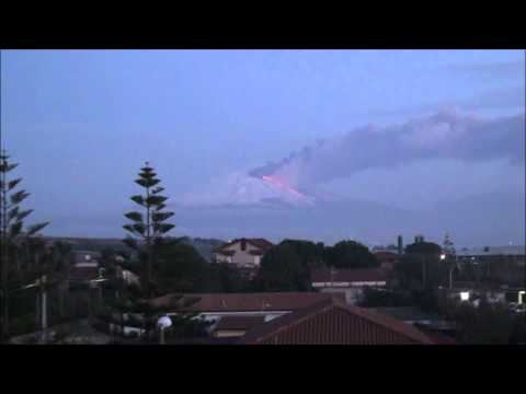 Volcanic eruption on Etna at dawn 19 February 2013