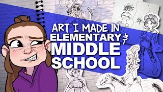 LOOKING THROUGH MY OLD ART | grade school notebooks | DrawingWiffWaffles