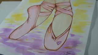 Pintura com Aquarela - Pés de Bailarina