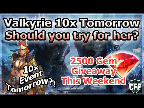 RAID Shadow Legends | Valkyrie 10x Event Tomorrow! | Should you try for her? | 2500 Gem Giveaway