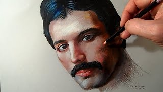 Drawing Freddie Mercury ♔ Queen, Time Lapse
