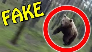 Bear Attack FAKE - Man On Mountain Bike Chased By Grizzly Bear (GoPro)