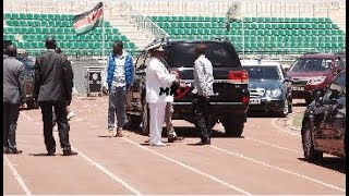 SEE UHURU DRIVE HIMSELF TO NYAYO STADIUM TO INSPECT THE PROGRESS IN READINESS FOR MOI REQUIEM MASS!