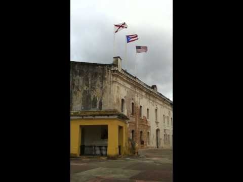Three flags over Castillo San Cristóbal, Puerto Rico
