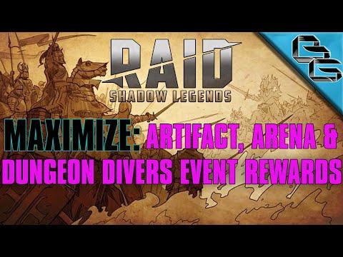RAID: Shadow Legends | Maximize Artifact Enhancement, Arena Medals & Dungeon Divers Rewards | F2P