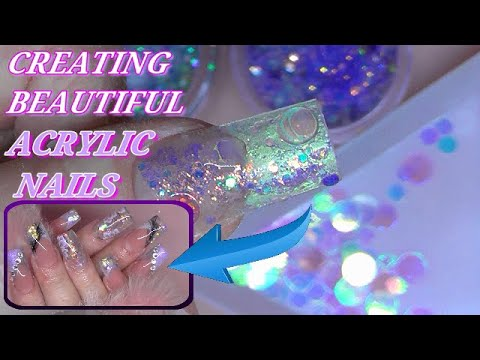FAIRY GARDEN Acrylic Nails ~ PINK AND PURPLE ACRYLIC MANICURE | ABSOLUTE NAILS