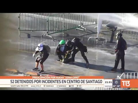 Preocupación por nueva «zona cero»: 52 detenidos por incidentes en el centro de Santiago