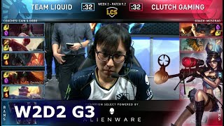 TL vs CG | Week 2 Day 2 S9 LCS Spring 2019 (ex-NA LCS) | Team Liquid vs Clutch Gaming W2D2