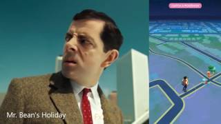 Mr Bean playing Pokemon Go Finding Pikachu