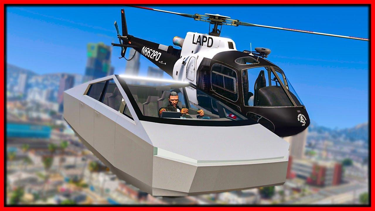Elanip - GTA 5 Roleplay - FLYING TESLA CYBERTRUCK TROLLS COPS | RedlineRP