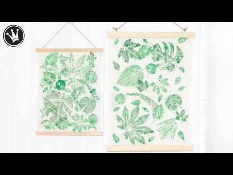 DIY - Wandbehang URBAN JUNGLE selber machen | Stoffdruck mit Blätter | Trend 2019 | DekoideenReich