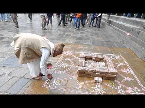 Praying Durbar Square Kathmandu Nepal