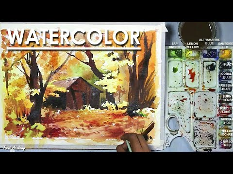 Watercolor Painting : A Hut in the Forest | step by step drawing to coloring