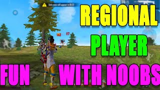 Regional player fun with Noobs || 1 vs 4 free fire rank fun paly || Run Gaming Tamil