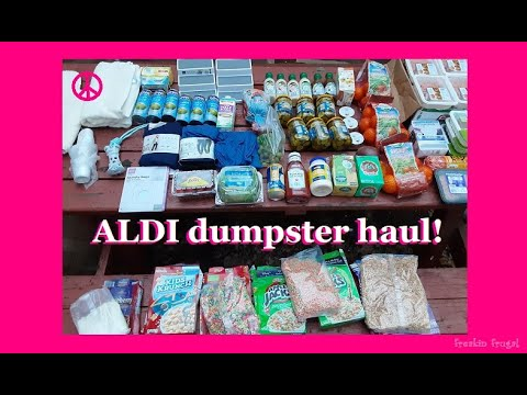 AMAZING DUMPSTER DIVING AT ALDI ~ FREE FOOD, CLOTHING, MERCHANDISE, CEREAL, MEAT, TURKEY, AND MORE!