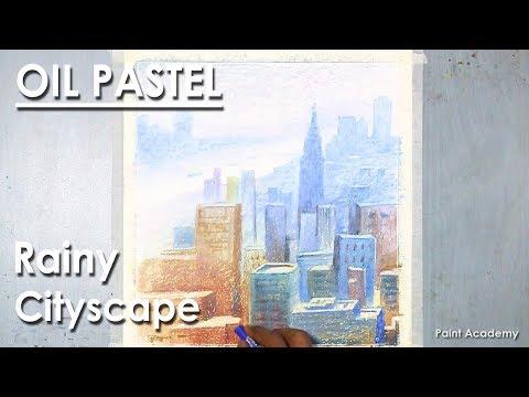 Rainy Cityscape- Oil Pastel landscape Drawing | after rain