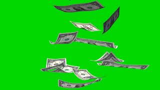 Money Rain - falling  dollar bills on green screen