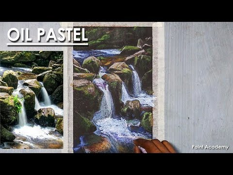 Waterfall Drawing in Oil Pastel | step by step