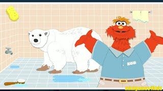 Sesame Street Murray Cleans Zoo Animals Spotless Bathing Fun Kids Games width=