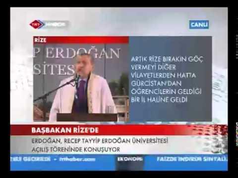 R. Tayyip Erdoğan Üniversitesi Açılış Konuşması.