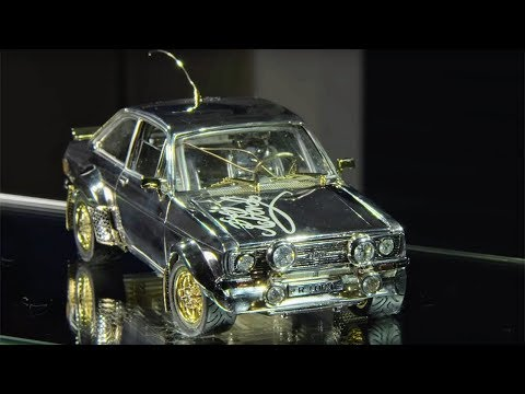 Tiny Classic Ford Escort Made of Gold, Diamonds and Silver