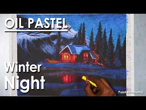 Winter Night- A Composition on Oil Pastel step by step